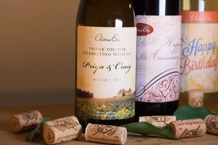 wine bottles with custom labels