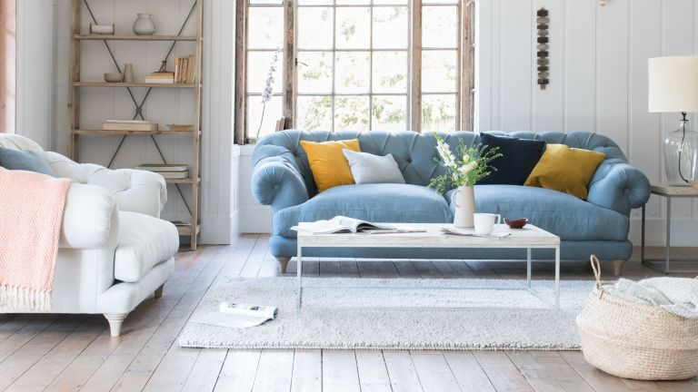 Sofa with exposed legs