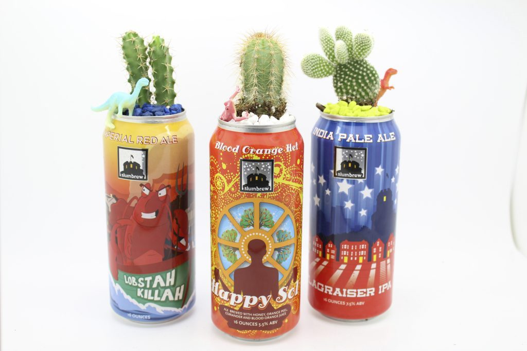 Empty cans into planters