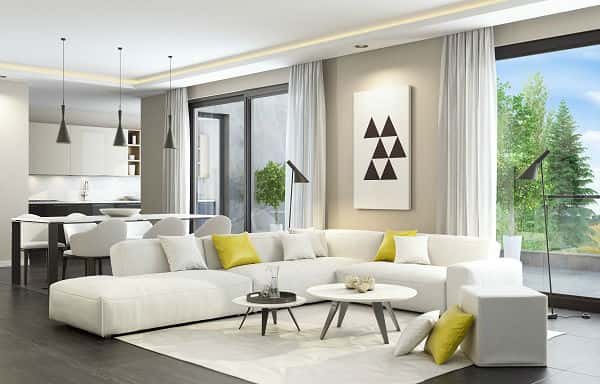 Contemporary style for the living room walls