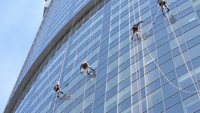 Window washers on skyscrapers