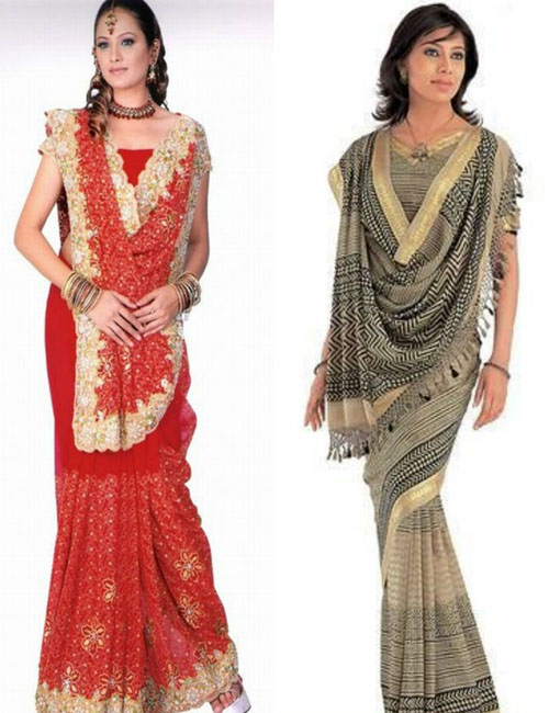 The V shape of the pallu style