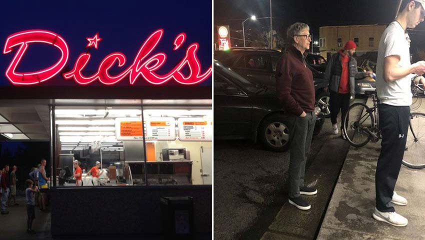 Bill Gates Waiting in Line For a Burger