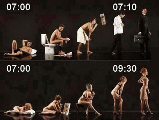 men vs women ready for work