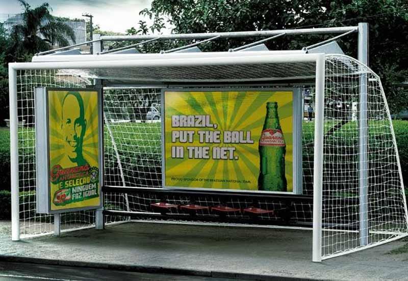Football goal shaped Bus Stop in Sao Paulo