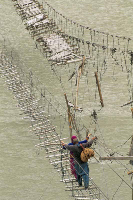 The rope bridge in Askole, Pakistan