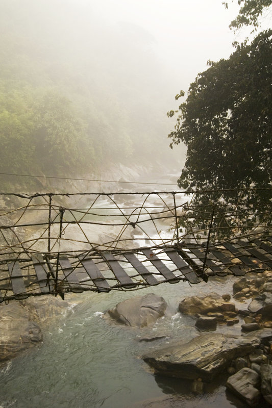 Barely-a-bridge at the peak in Huang Mountain China