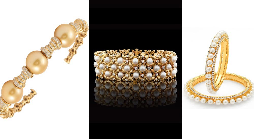 Wreath Style Bangles studded with pearl and diamond