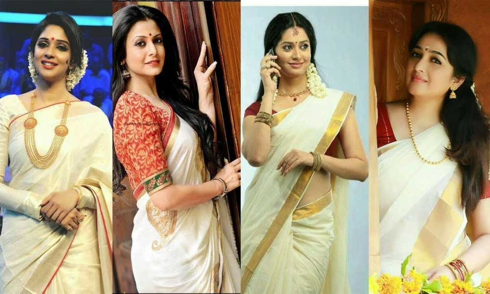 Keralites Women Prefer Wearing White And Gold Saree