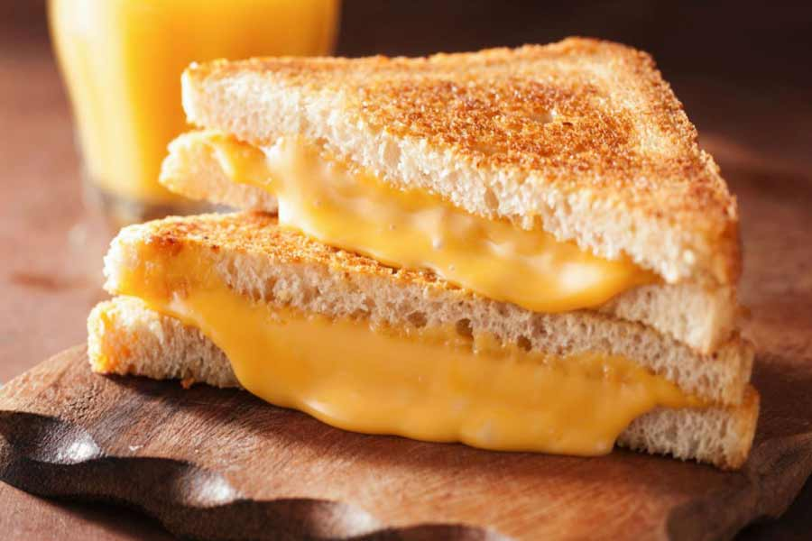 Cheese slices in sandwiches