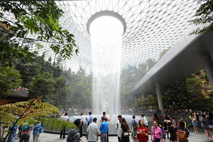 World's tallest indoor waterfall