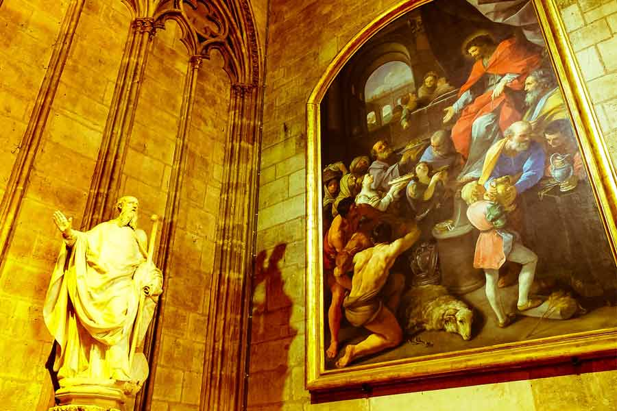 Cathedral's interior is covered with priceless paintings