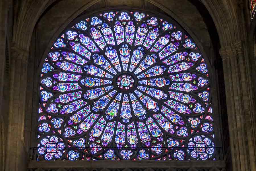 Notre-Dame is home to many stunning rose windows