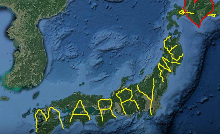 Yashushi From Japan Who Proposes His Girlfriend Using A GPS Art