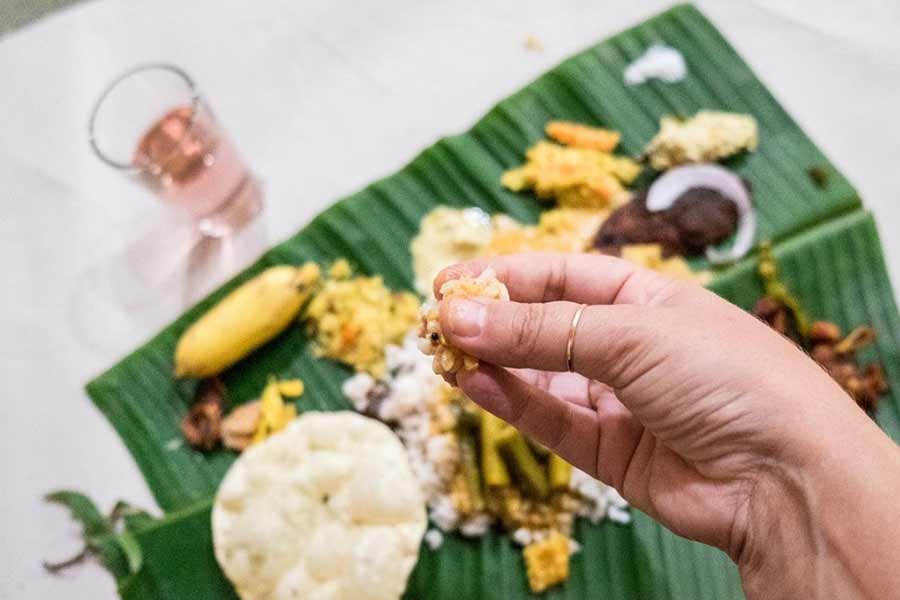 Indian eats with hands