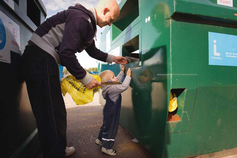 You will find recycling stations everywhere in Sweden