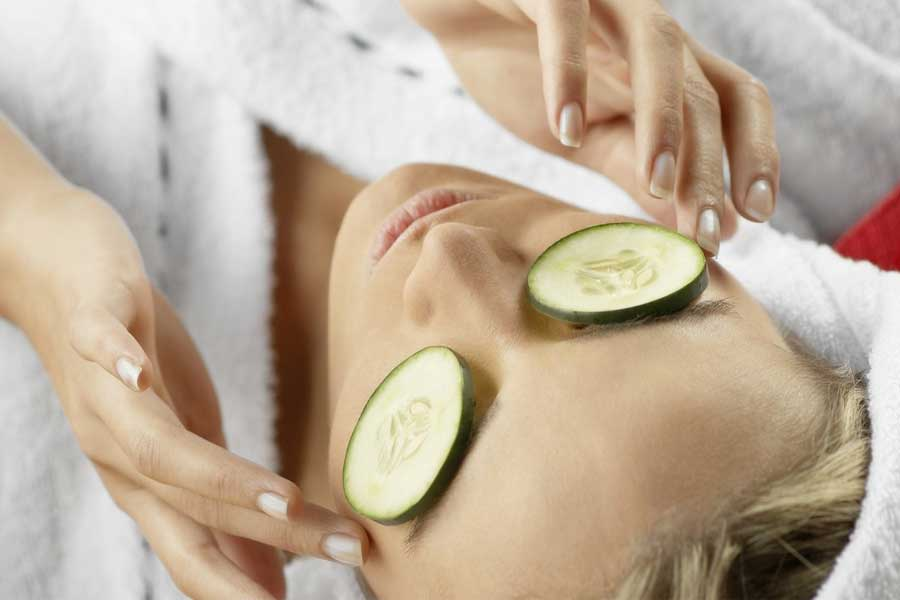 Use cucumber slices to treat your sore eyes