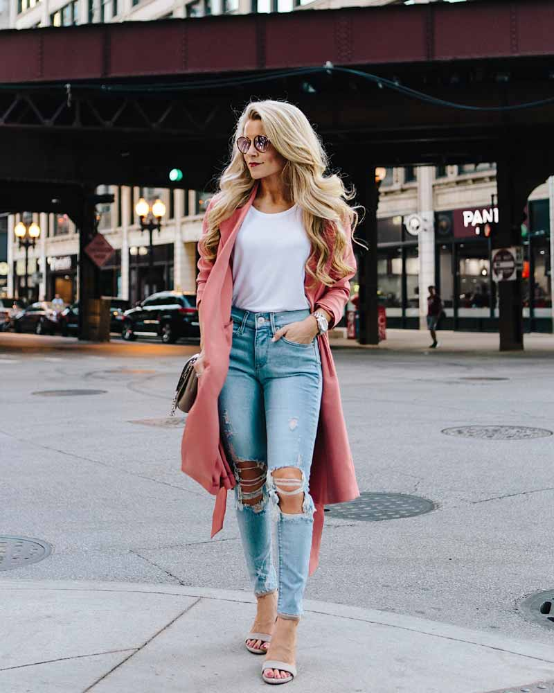 Layer an open button-down shirt in place of denim jacket over your long dress