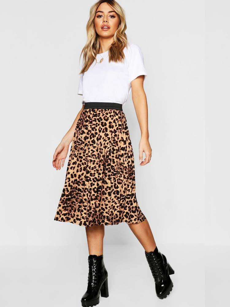 Leopard print midi skirt with your favourite boots or sandals
