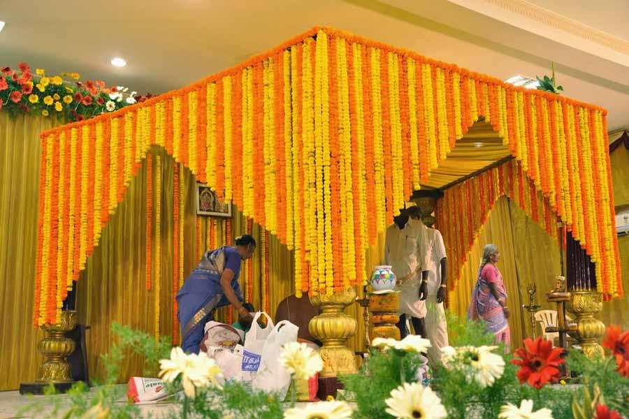 Mandap decorated with desi yellow colour Genda Phool