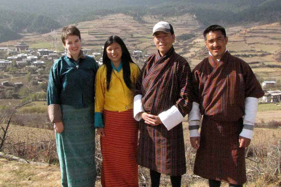 Traditional clothes while at work in Bhutan