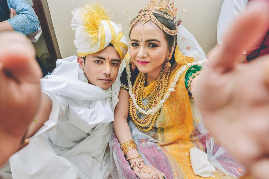 New fishes are released by the couple in the nearest pond in Manipuri weddings