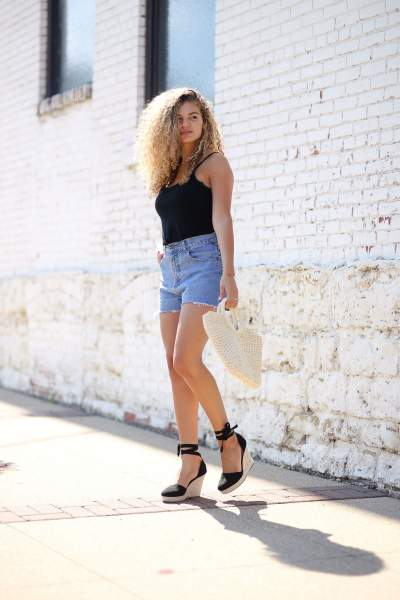 wedges on with your shorts
