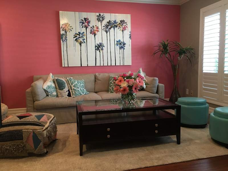 Pink wall for living room