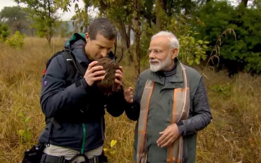PM Narendra Modi with Bear Grylls on The Show 'Man vs Wild'