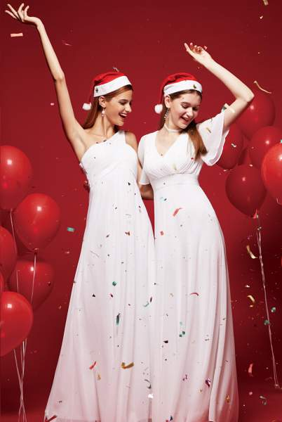 White Christmas Evening Party Dresses