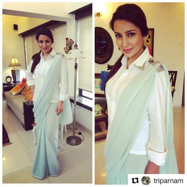 Pair up your old saree with a classic shirt combo like Tisca Chopra