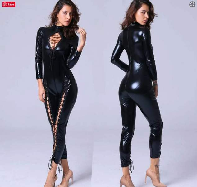Plus size leather bodysuits