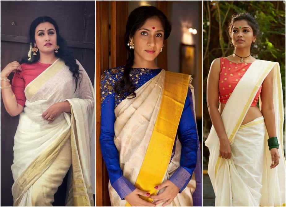 Try These 6 Gorgeous Blouse Designs with Your White and Gold Border Kerala Saree