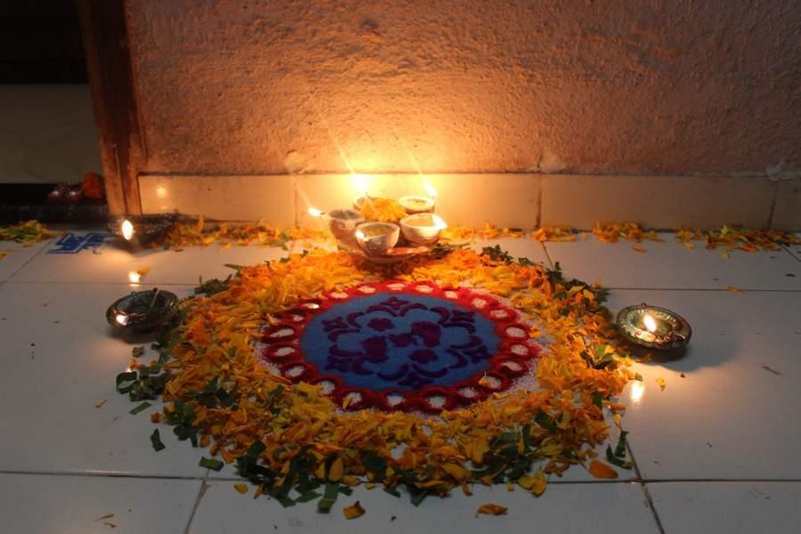 Rangoli and flowers