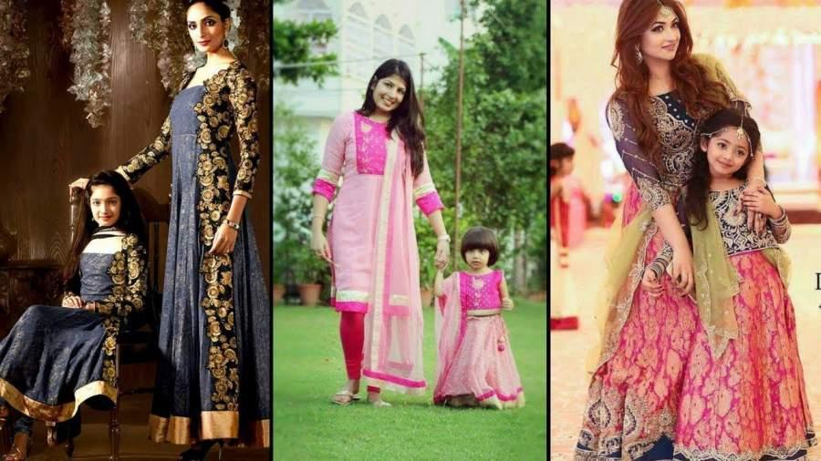 Mother daughter matching dress from saree
