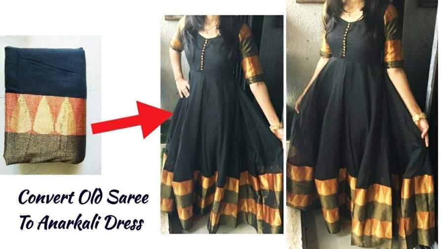 Convert old saree into Anarkali dress