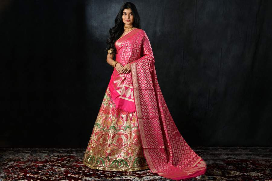 Design a lehenga out of precious Banarasi saree