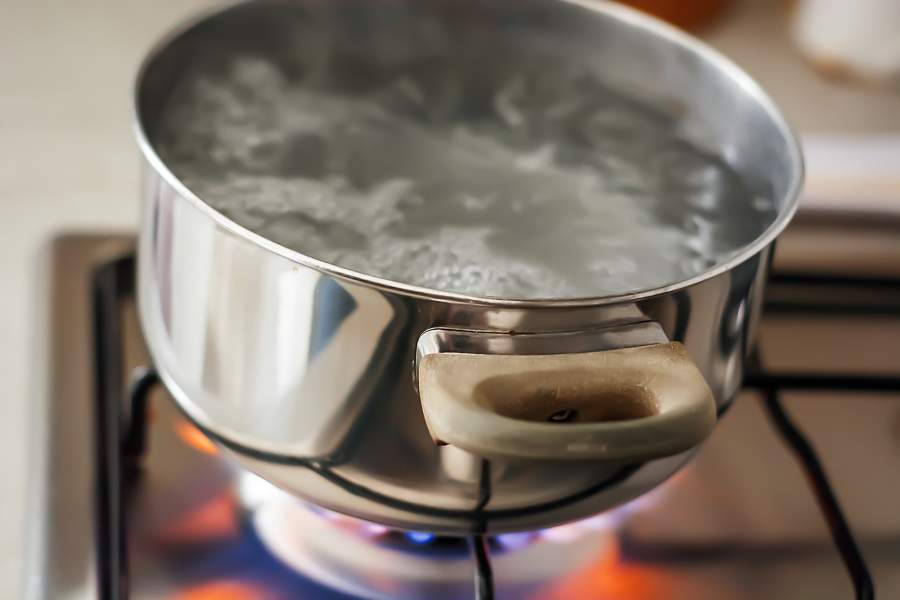 Pour Boiling Water to clean drain