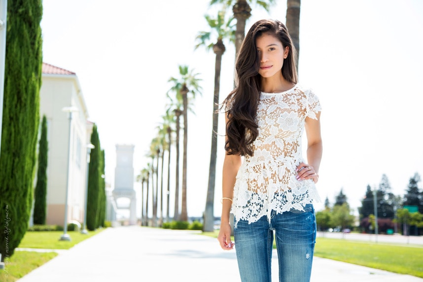 Jeans and Lacy Top