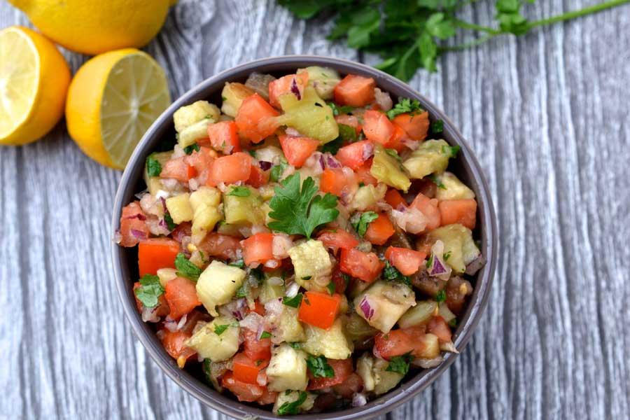 Smoky Eggplant and Tomato Salad