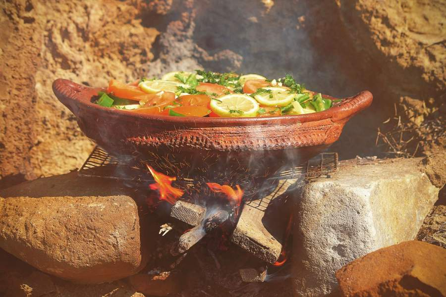The clay pot is heat resistant