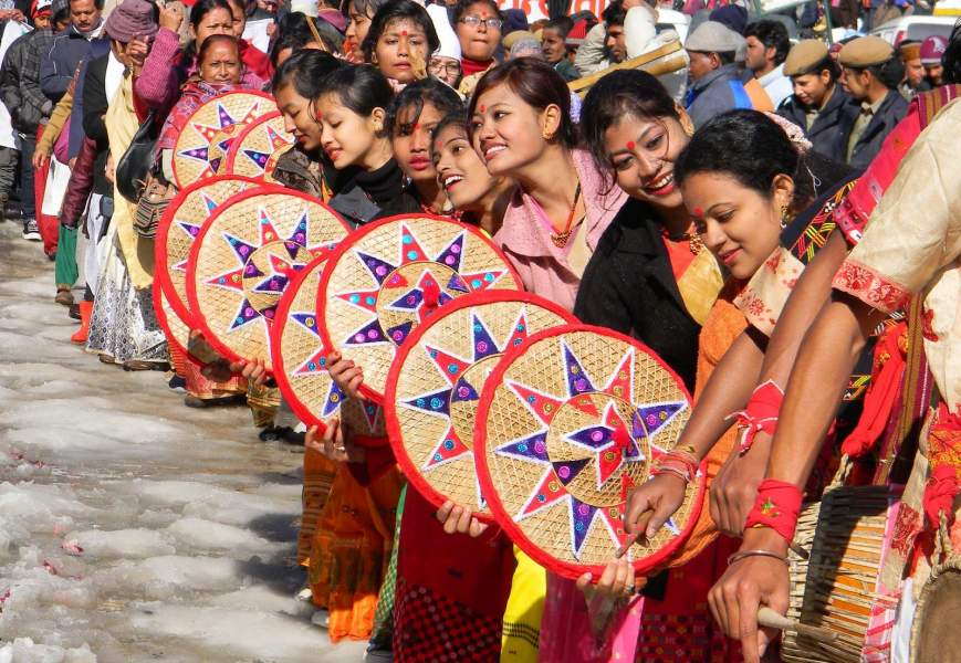 Participation by village women in winter carnival Manali