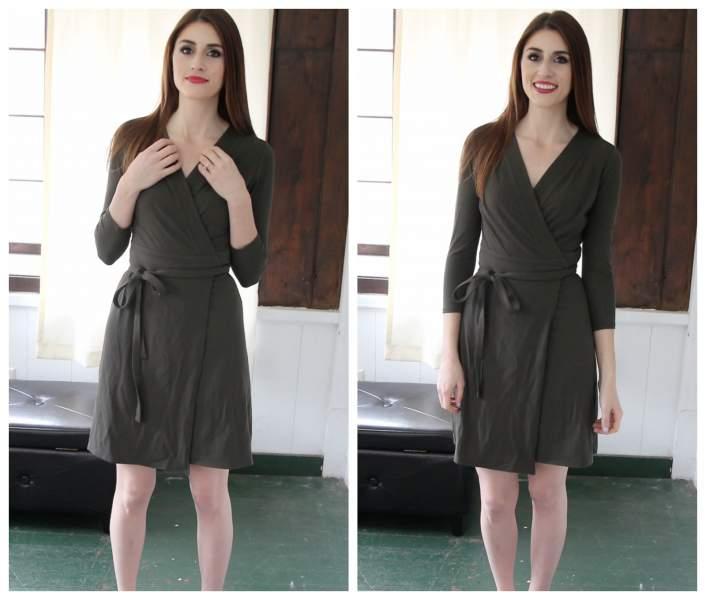 wearing a wrap dress