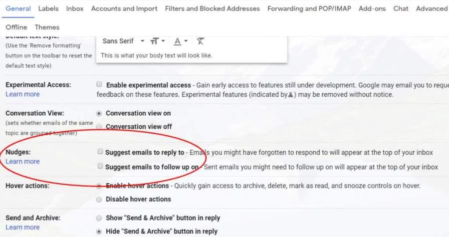 Gmail Nudges