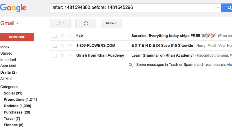 Find emails by date in Gmail