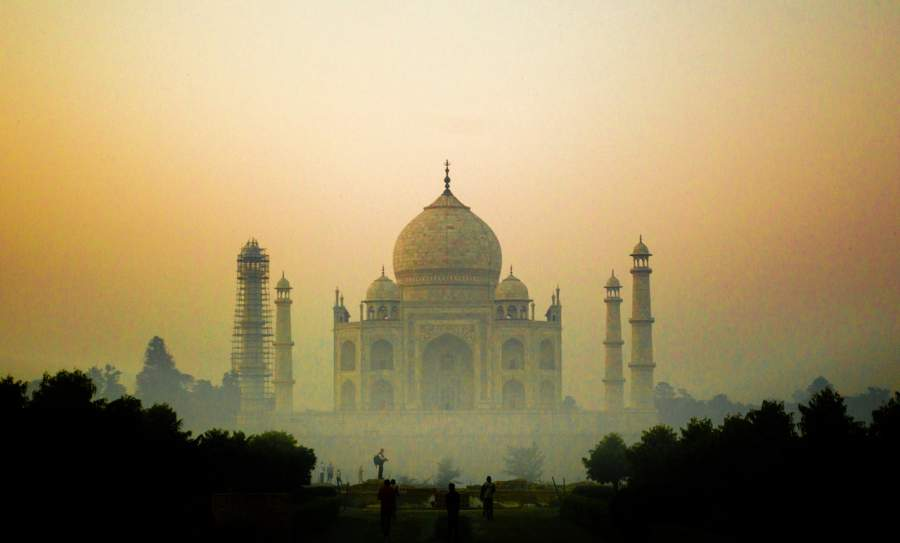 Taj Mahal are tilted outwards rather than standing straight