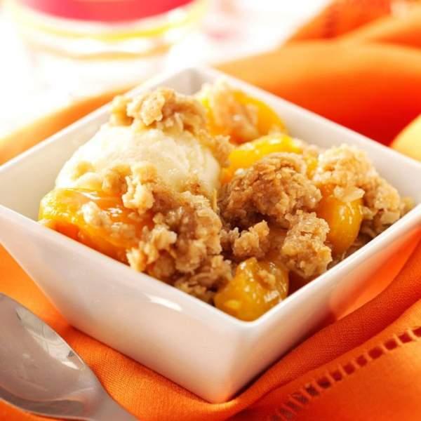 Peach & oats crisp