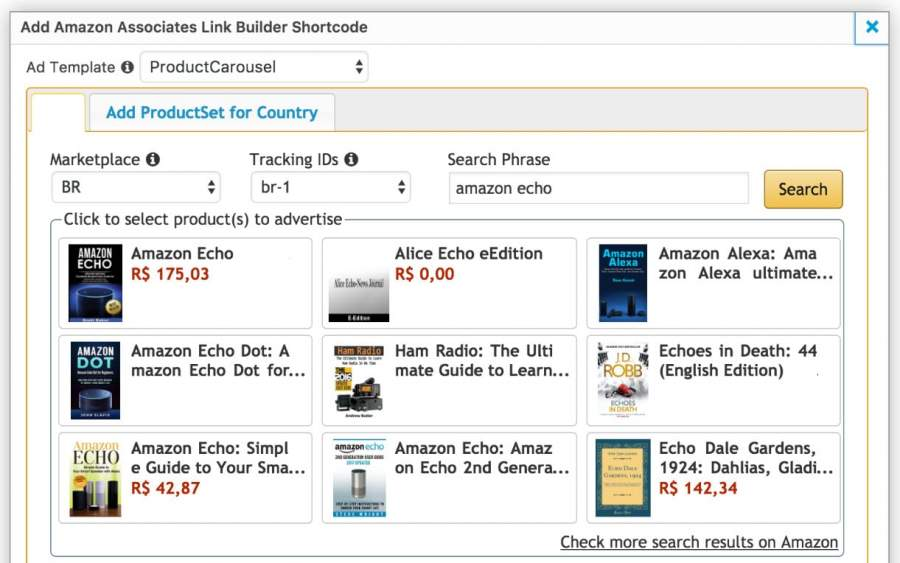 Amazon affiliate links in the email