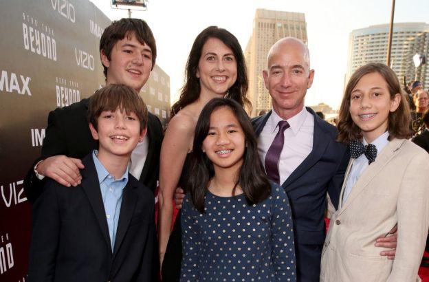 MacKenzie Bezos with Jeff and Children
