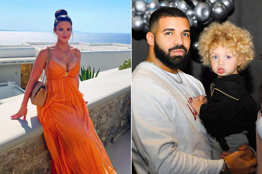 Drake's wife Sophie Brussaux and son